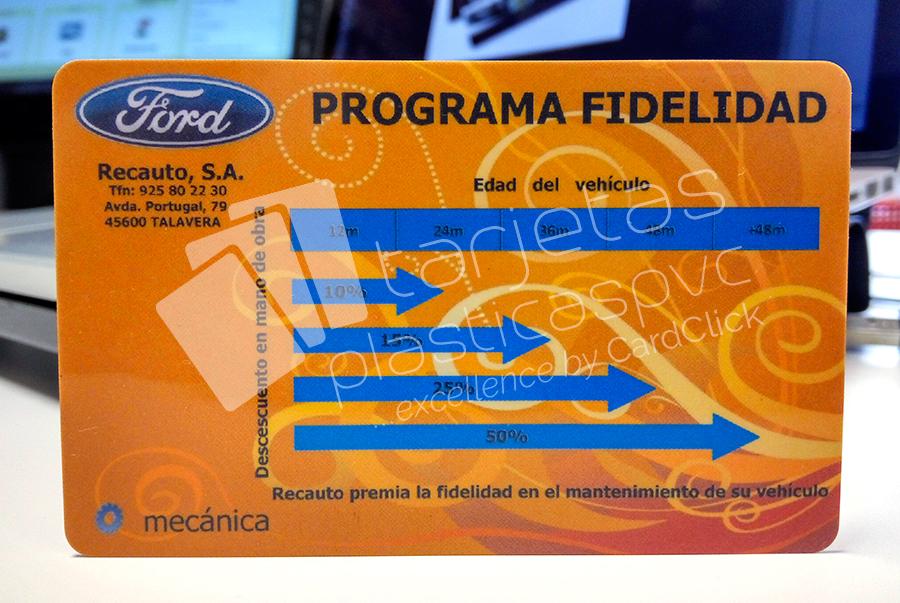 tarjetas plásticas ford
