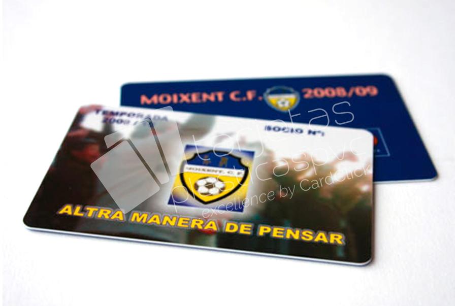 tarjetas plásticas socios de futbol