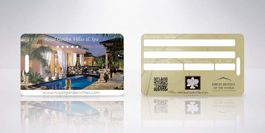 tarjeta plástica royal garden villas y spa