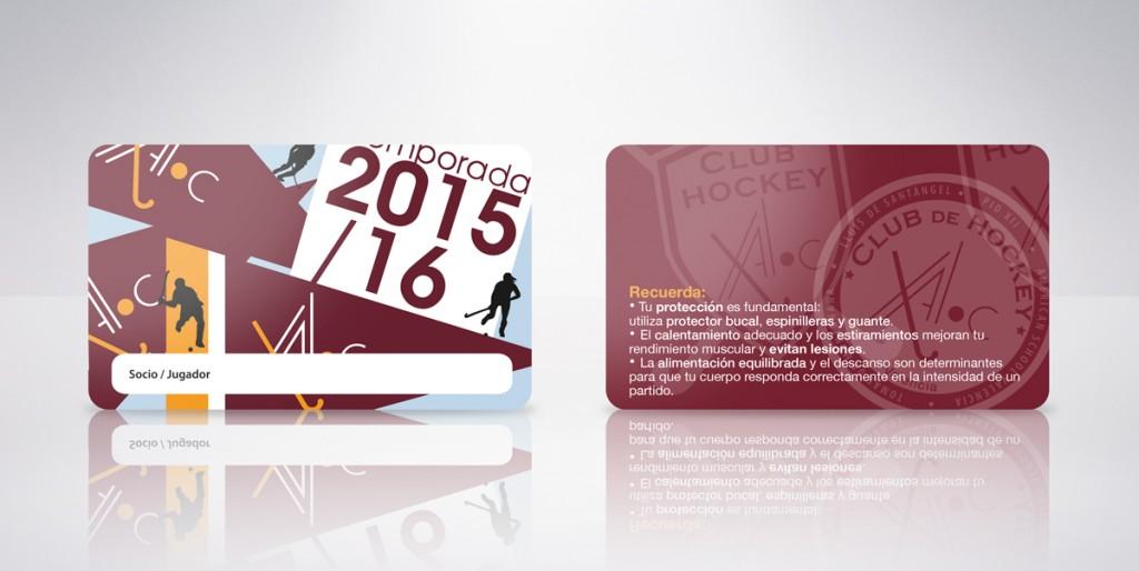 tarjeta plástica club de hoockey